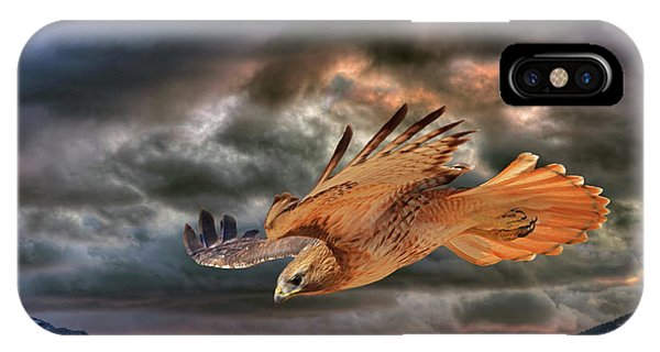 Red Tail Hawk iPhone Case - Stormy Flight by Donna Kennedy