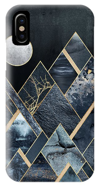 Moon iPhone X Case - Stormy Mountains by Elisabeth Fredriksson