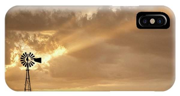 IPhone Case featuring the photograph Stormy Sunset And Windmill 02 by Rob Graham