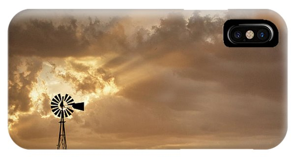 IPhone Case featuring the photograph Stormy Sunset And Windmill 03 by Rob Graham