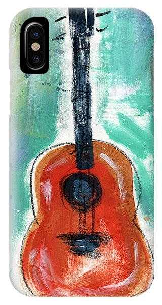Rock And Roll Art iPhone Case - Storyteller's Guitar by Linda Woods