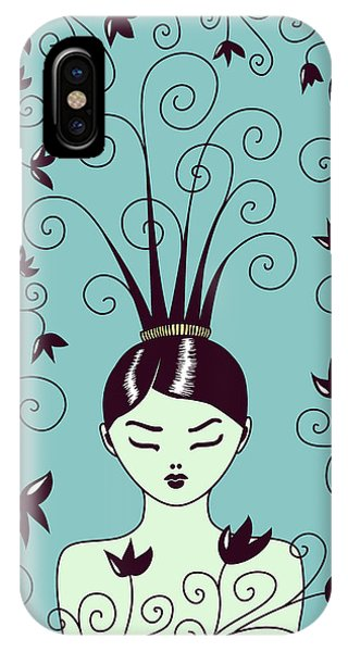 Strange Hairstyle And Flowery Swirls IPhone Case