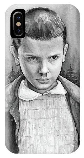 Science Fiction iPhone Case - Stranger Things Fan Art Eleven by Olga Shvartsur