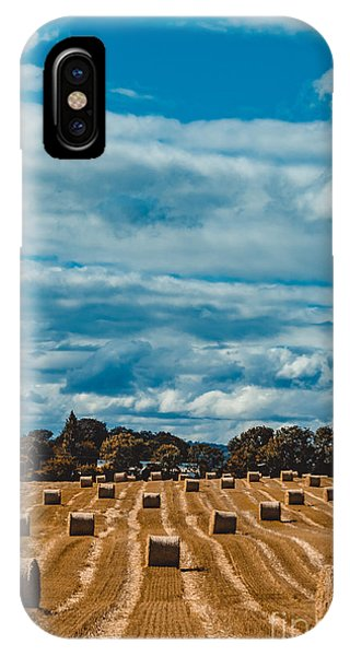 Straw Bales In A Field 2 IPhone Case