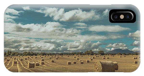 Straw Bales In A Field 3 IPhone Case