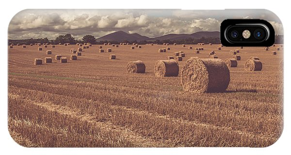 Straw Bales In A Field 4 IPhone Case