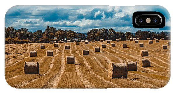 Straw Bales In A Field IPhone Case