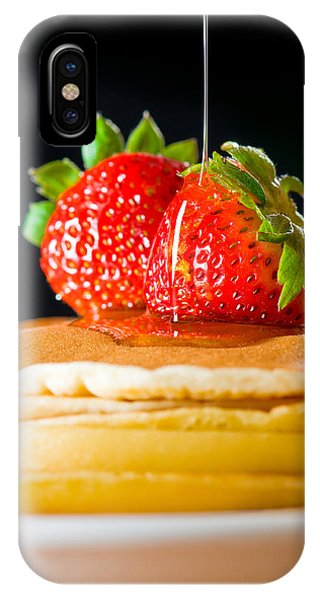 Strawberry Butter Pancake With Honey Maple Sirup Flowing Down IPhone Case