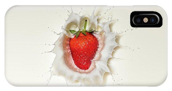 Red Fruit iPhone Case - Strawberry Splash In Milk by Johan Swanepoel