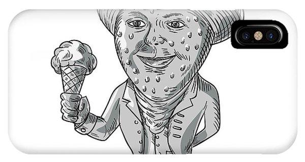 Ice Cream iPhone Case - Strawberry Tricorn Hat Ice Cream Black And White Drawing by Aloysius Patrimonio