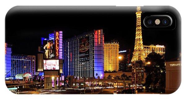 Midnite iPhone Case - Streaking Along The Famous Strip - Las Vegas Neon Rush by Georgia Mizuleva