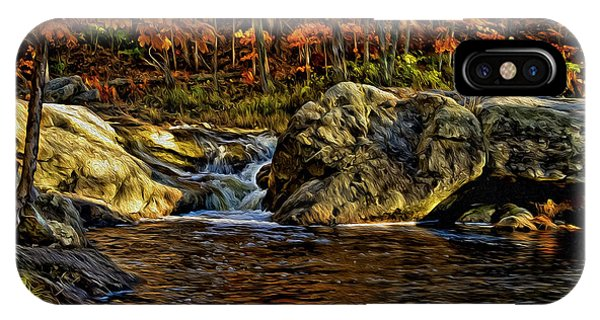 IPhone Case featuring the photograph Stream In Autumn 57 In Oil by Mark Myhaver