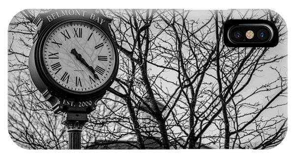 Street Clock In Black And White IPhone Case