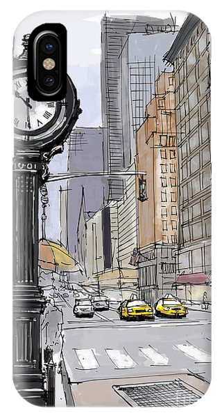 Avenue iPhone Case - Street Clock On 5th Avenue Handmade Sketch by Drawspots Illustrations