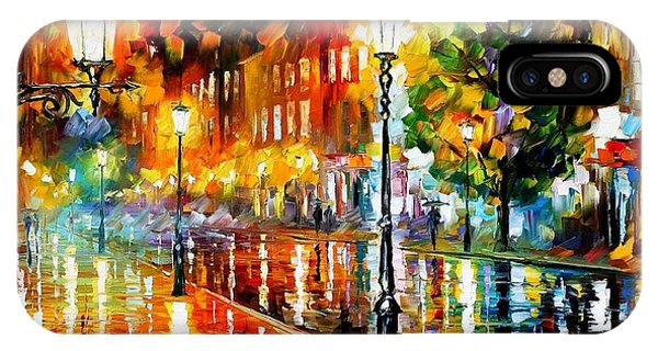 iPhone Case - Street Of Illusions - Palette Knife Oil Painting On Canvas By Leonid Afremov by Leonid Afremov