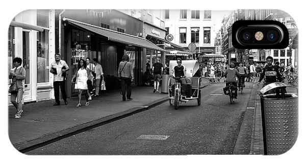 Street Riding In Amsterdam Mono Phone Case by John Rizzuto