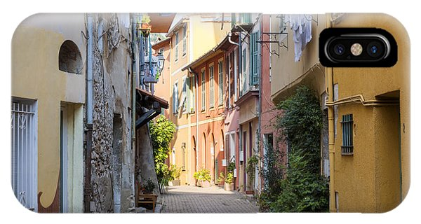 French Riviera iPhone Case - Street With Sunshine In Villefranche-sur-mer by Elena Elisseeva