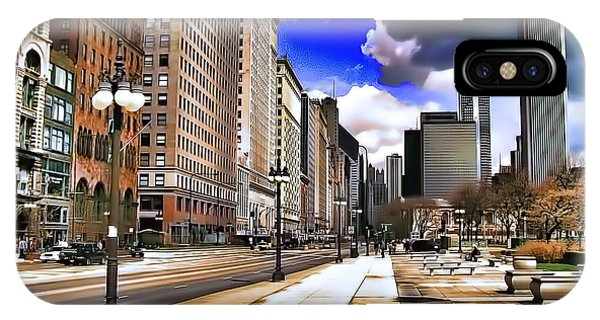 IPhone Case featuring the digital art Streets Of Chicago by Kathy Tarochione