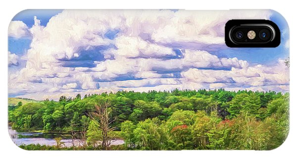 Striking Clouds Above Small Water Inlet And Green Trees IPhone Case
