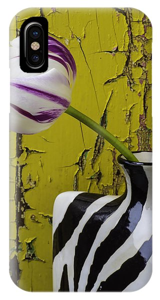 Striped Vase With Tulip IPhone Case