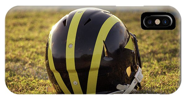 Striped Wolverine Helmet On The Field At Dawn IPhone Case