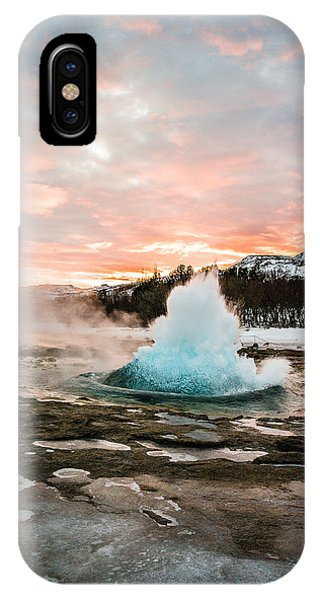 Strokkur Winter Blowup In Front Of Sunset IPhone Case