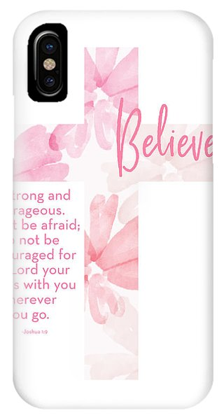 Watercolor iPhone Case - Strong And Courageous Cross- Art By Linda Woods by Linda Woods
