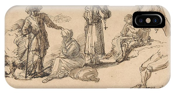 Rosa iPhone Case - Studies For Standing And Seated Figures by Salvator Rosa