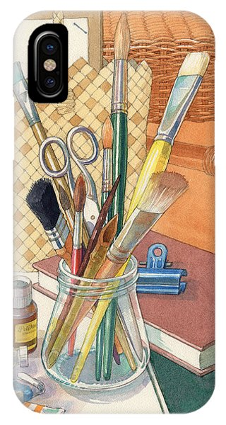 IPhone Case featuring the painting Studio by Judith Kunzle