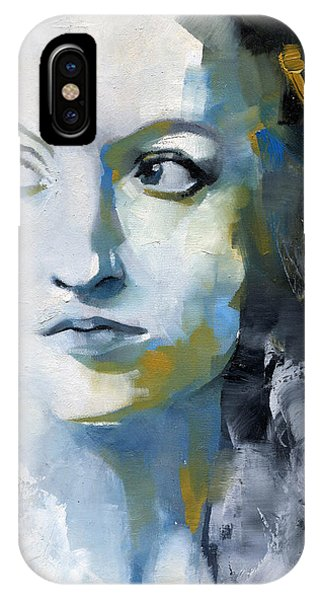 Abstract Figurative iPhone Case - Study In Blue And Ochre by Patricia Ariel