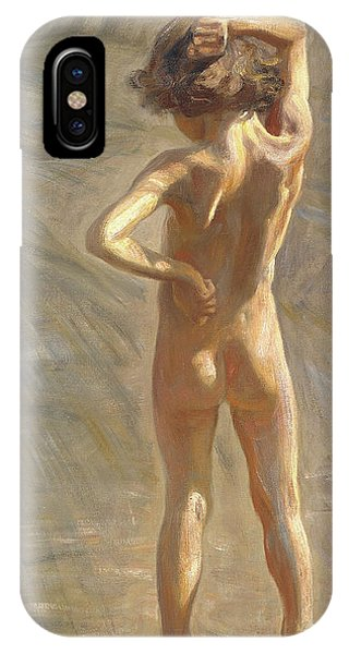Sunbather iPhone Case - Study Of A Nude Boy by Johan Axel Gustaf Andersson