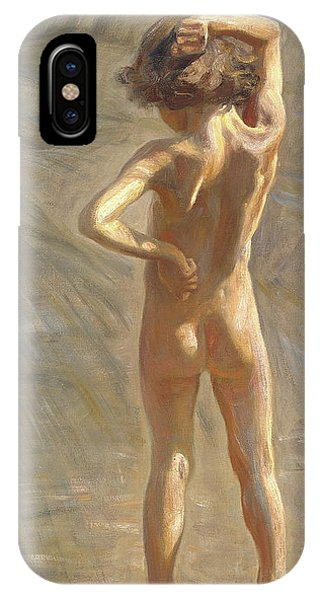 Swedish Painters iPhone Case - Study Of A Nude Boy by Johan Axel Gustaf Andersson