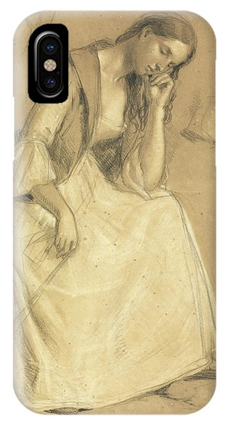 Pastel Pencil iPhone Case - Study Of A Seated Girl by Charles Cope West