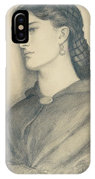 Aggie iPhone Case - Study Of Aggie Manetti  by Dante Gabriel Charles Rossetti