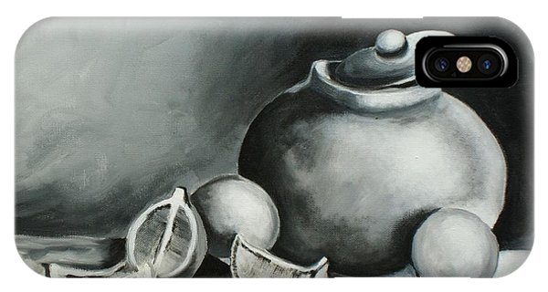 Study Of Lemons, Oranges And Covered Jug In Black And White IPhone Case