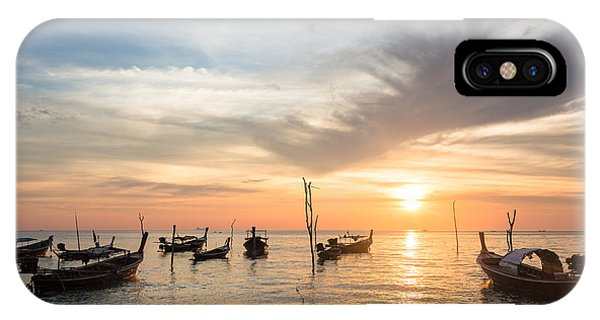 Stunning Sunset Over Wooden Boats In Koh Lanta In Thailand IPhone Case