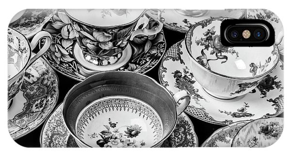 Saucer iPhone Case - Stunning Tea Cups In Black And White by Garry Gay