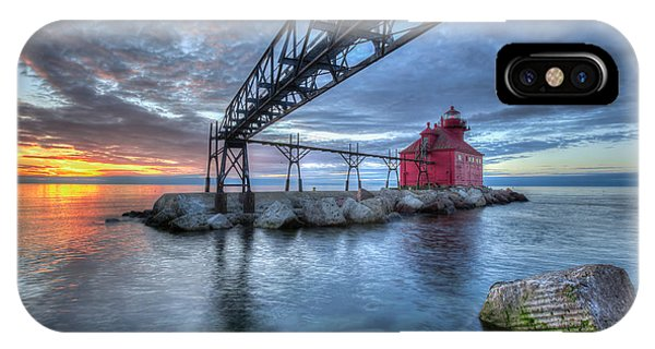 IPhone Case featuring the photograph Sturgeon Bay Lighthouse Sunrise by Paul Schultz