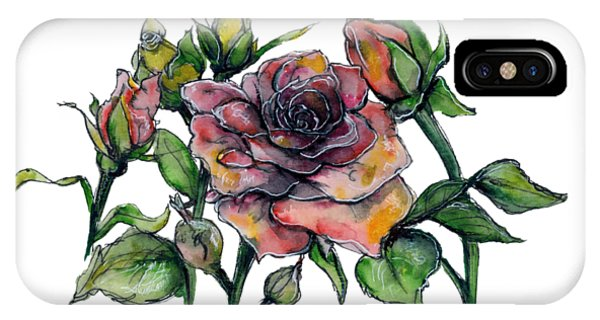 IPhone Case featuring the painting Stylized Roses by Lauren Heller