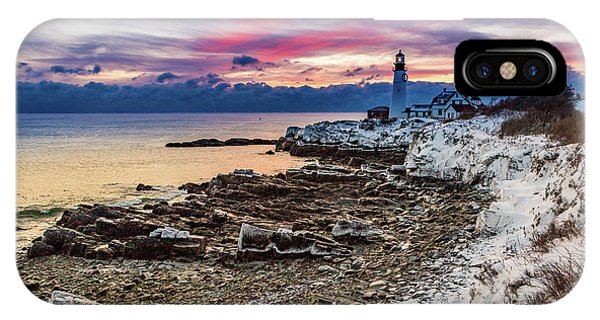 IPhone Case featuring the photograph Subtle Sunrise At Portland Head Light by Darryl Hendricks