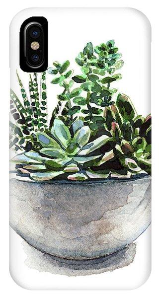 Succulent iPhone Case - Succulent Arrangement In Modern Planter by Laura Row