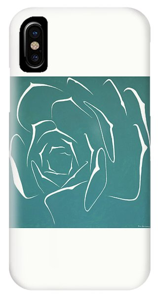 IPhone Case featuring the painting Succulent In Turquoise by Ben Gertsberg