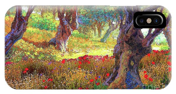Daisies iPhone Case - Tranquil Grove Of Poppies And Olive Trees by Jane Small