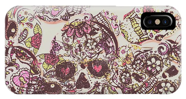 Rock And Roll Art iPhone Case - Sugarskull Punk Patchwork by Jorgo Photography - Wall Art Gallery