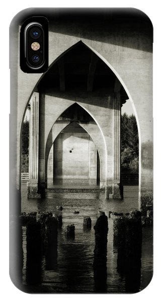 Suislaw River Bridge In Florence Oregon IPhone Case