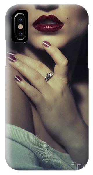 Sultry Dark Haired Woman IPhone Case