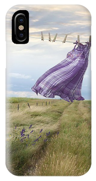 Summer Dress Blowing On Clothesline With Girl Walking Down Path IPhone Case