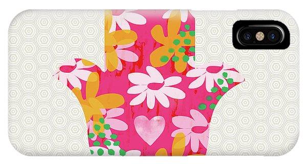 Bat iPhone Case - Summer Garden Hamsa- Art By Linda Woods by Linda Woods