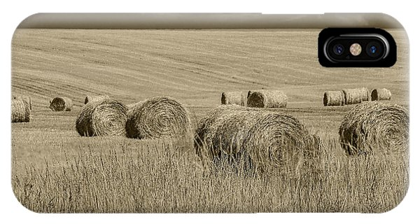 Summer Harvest Field With Hay Bales In Sepia IPhone Case