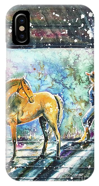 IPhone Case featuring the painting Summer Morning At The Barn by Zaira Dzhaubaeva